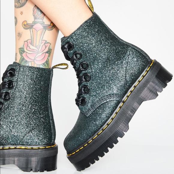 05a54ee75 Dr. Martens Molly Green Glitter Platform Boots. M_5c88ea7cfe51513f1d8e2908